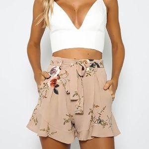 Cotton Floral Beige Shorts NWT